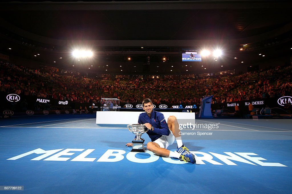 <a gi-track='captionPersonalityLinkClicked' href=/galleries/search?phrase=Novak+Djokovic&family=editorial&specificpeople=588315 ng-click='$event.stopPropagation()'>Novak Djokovic</a> of Serbia holds the Norman Brookes Challenge Cup after winning the Men's Singles Final over Andy Murray of Great Britain during day 14 of the 2016 Australian Open at Melbourne Park on January 31, 2016 in Melbourne, Australia.