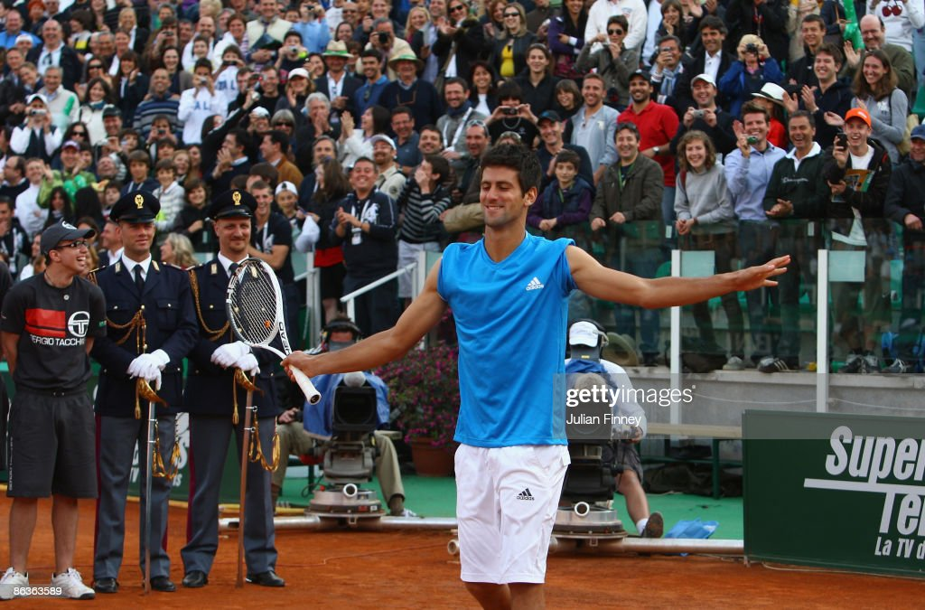 Novak Djokovic of Serbia impersonates Rafael Nadal of Spain after the final during day seven of the Foro Italico Tennis Masters on May 3 2009 in Rome...