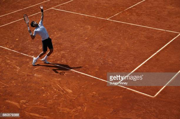 Novak Djokovic of Serbia in a practice session during day three of the Mutua Madrid Open tennis at La Caja Magica on May 8 2017 in Madrid Spain