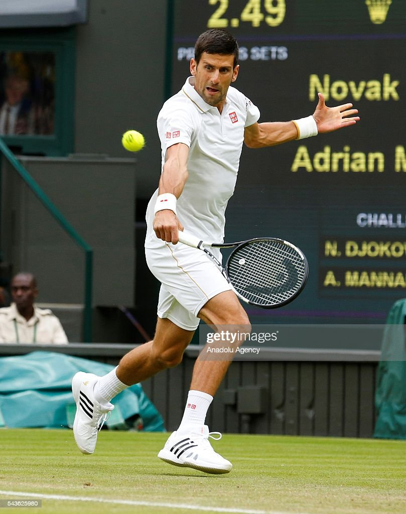 Novak Djokovic of Serbia in action against Adrian Mannarino of France in the men's Singles on day three of the 2016 Wimbledon Championships at the All England Lawn and Croquet Club in London, United Kingdom on June 29, 2016.