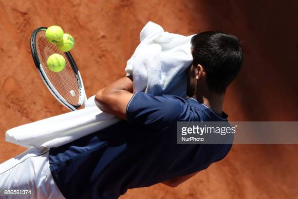 Novak Djokovic of Serbia in action against Alexander Zverev of Germany during the final of The Internazionali BNL d'Italia 2017 at Foro Italico on...