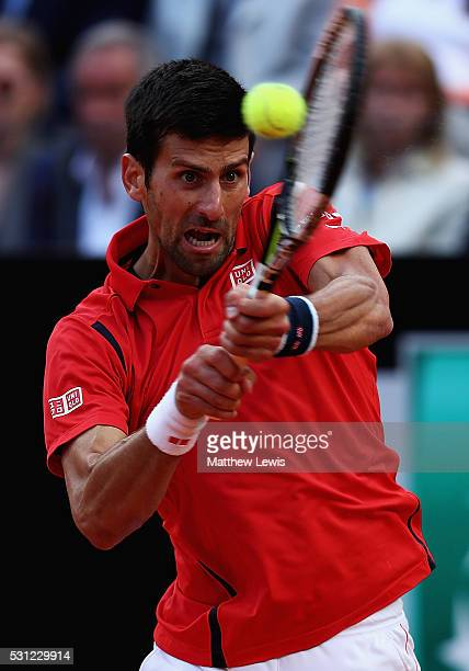 Novak Djokovic of Serbia in action against Rafa Nadal of Spain during day six of the The Internazionali BNL d'Italia 2016 on May 13 2016 in Rome Italy