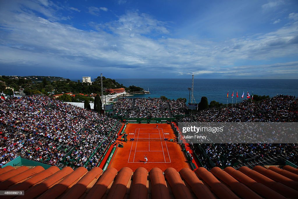 Novak Djokovic of Serbia in action against Roger Federer of Switzerland in the semi finals during day seven of the ATP Monte Carlo Rolex Masters...