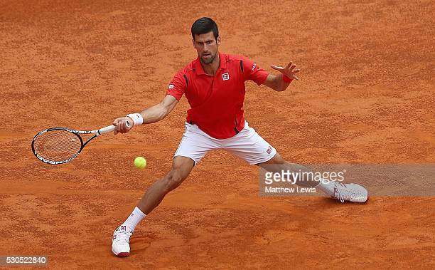 Novak Djokovic of Serbia in action against Stephane Robert of France during day four of the The Internazionali BNL d'Italia 2016 on May 11 2016 in...