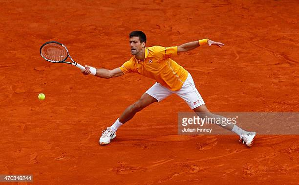 Novak Djokovic of Serbia in action against Tomas Berdych of Czech Republic in the final during day eight of the Monte Carlo Rolex Masters tennis at...