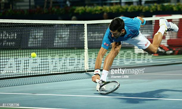 Novak Djokovic of Serbia in action against Tommy Robredo of Spain during day two of the ATP Dubai Duty Free Tennis Championship at the Dubai Duty...