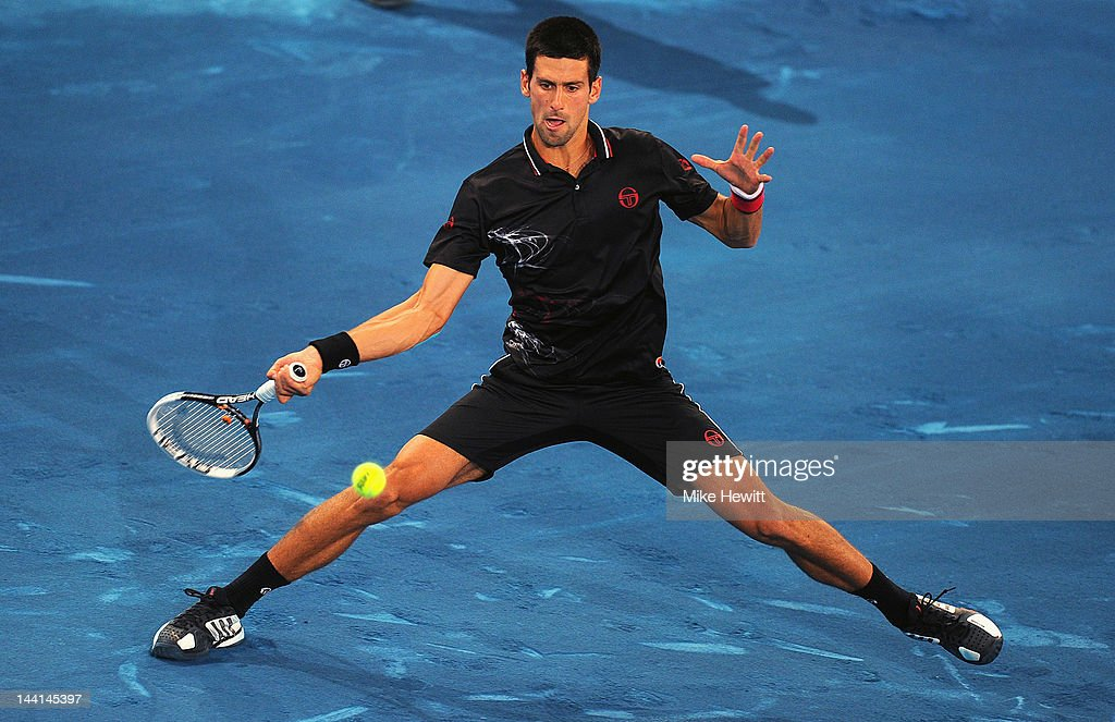 Novak Djokovic of Serbia in action during his 4th round match with Stanislas Wawrinka of Switzerland in the Mutua Madrilena Madrid Open at the Caja Magica on May 10, 2012 in Madrid, Spain.