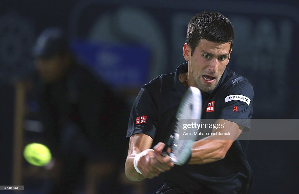 Novak Djokovic of Serbia in action during his first match against Denis Istomin of Uzbekistan on day 2 of the Dubai Duty Free Tennis ATP Championships on February 25, in Dubai, United Arab Emirates.