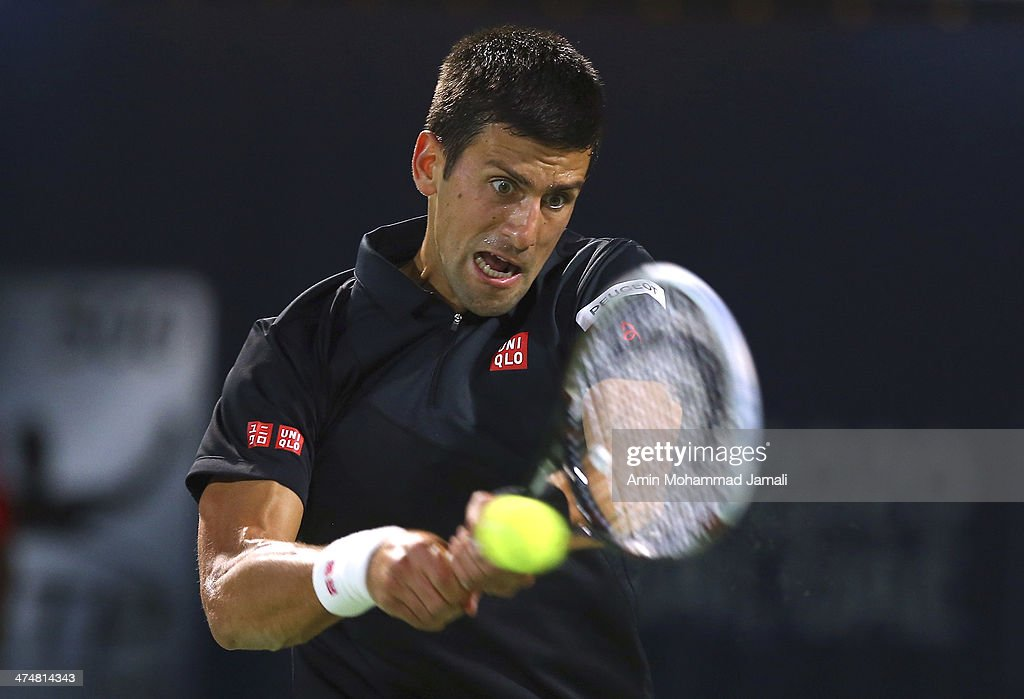 <a gi-track='captionPersonalityLinkClicked' href=/galleries/search?phrase=Novak+Djokovic&family=editorial&specificpeople=588315 ng-click='$event.stopPropagation()'>Novak Djokovic</a> of Serbia in action during his first match against Denis Istomin of Uzbekistan on day 2 of the Dubai Duty Free Tennis ATP Championships on February 25, in Dubai, United Arab Emirates.