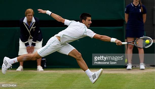Novak Djokovic of Serbia in action during his Gentlemen's Singles semi final match against Roger Federer of Switzerland on day eleven of the...