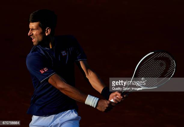 Novak Djokovic of Serbia in action during his match against Pablo Carreno Busta of Spain during day five of the ATP Monte Carlo Rolex Masters Tennis...