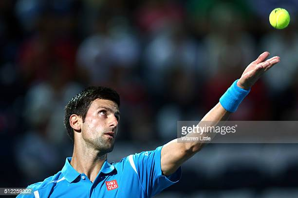 Novak Djokovic of Serbia in action during his quarter final match against Feliciano Lopez of Spain on day six of the ATP Dubai Duty Free Tennis...