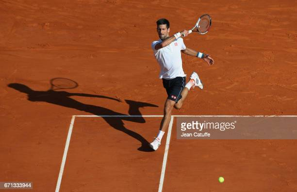 Novak Djokovic of Serbia in action during his quarter final on day 6 of the MonteCarlo Rolex Masters an ATP Tour Masters Series 1000 on the clay...