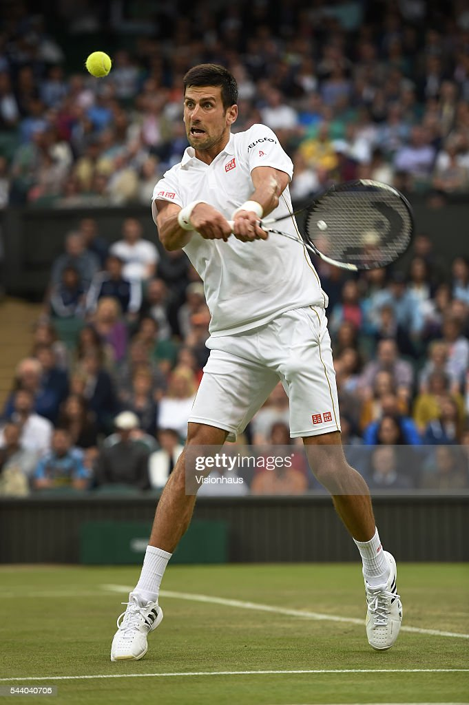 Novak Djokovic of Serbia in action during his second round match against Adrian Mannarino of France at Wimbledon on June 29, 2016 in London, England.