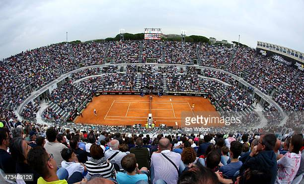 Novak Djokovic of Serbia in action during his Third Round match against Kei Nishikori of Japan on Day Six of the The Internazionali BNL d'Italia 2015...