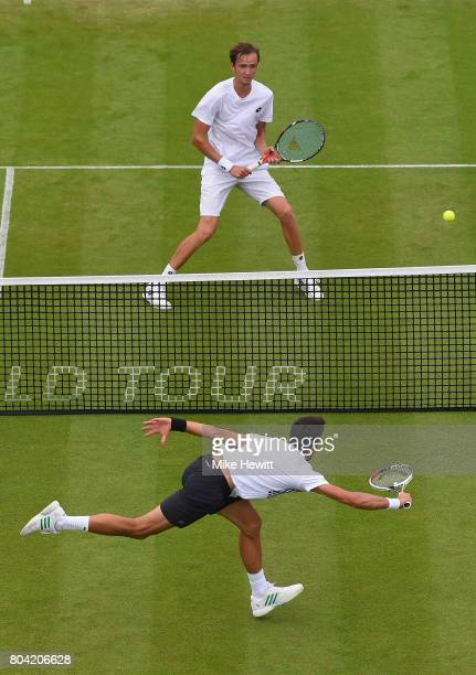 Novak Djokovic of Serbia in action during his victory over Daniil Medvedev of Russia on Day 6 of the Aegon International Eastbourne tournament at...