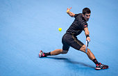 Novak Djokovic of Serbia in action during the round robin singles match against Kei Nishikori of Japan on day seven of the Barclays ATP World Tour...