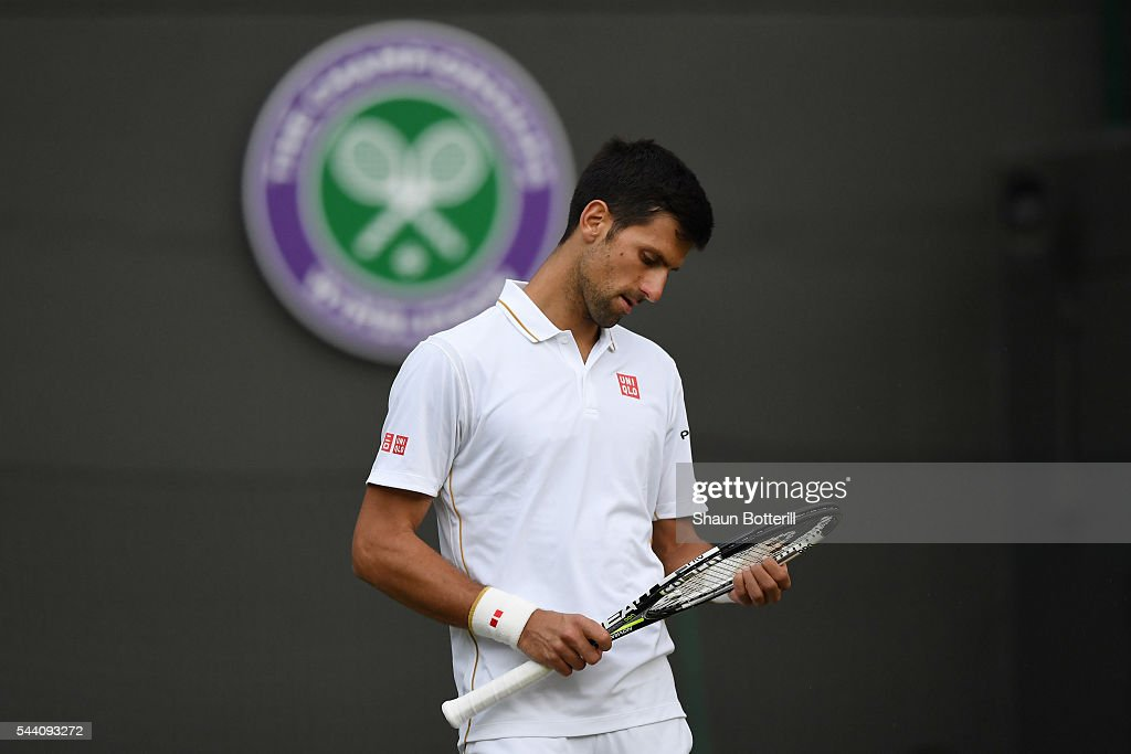 <a gi-track='captionPersonalityLinkClicked' href=/galleries/search?phrase=Novak+Djokovic&family=editorial&specificpeople=588315 ng-click='$event.stopPropagation()'>Novak Djokovic</a> of Serbia looks dejected during the Men's Singles third round match against Sam Querrey of The United States on day five of the Wimbledon Lawn Tennis Championships at the All England Lawn Tennis and Croquet Club on July 1, 2016 in London, England.