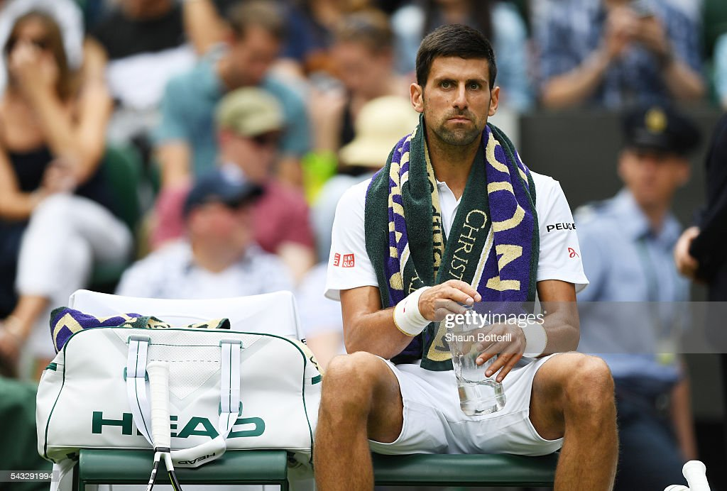 <a gi-track='captionPersonalityLinkClicked' href=/galleries/search?phrase=Novak+Djokovic&family=editorial&specificpeople=588315 ng-click='$event.stopPropagation()'>Novak Djokovic</a> of Serbia looks on during the Men's Singles first round against James Ward od Great Britain on day one of the Wimbledon Lawn Tennis Championships at the All England Lawn Tennis and Croquet Club on June 27th, 2016 in London, England.