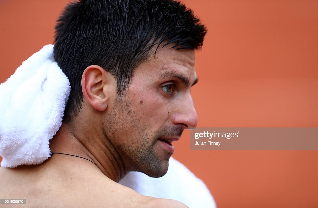 <a gi-track='captionPersonalityLinkClicked' href=/galleries/search?phrase=Novak+Djokovic&family=editorial&specificpeople=588315 ng-click='$event.stopPropagation()'>Novak Djokovic</a> of Serbia looks on during the Men's Singles third round match against Aljaz Bedene of Great Britain on day seven of the 2016 French Open at Roland Garros on May 28, 2016 in Paris, France.