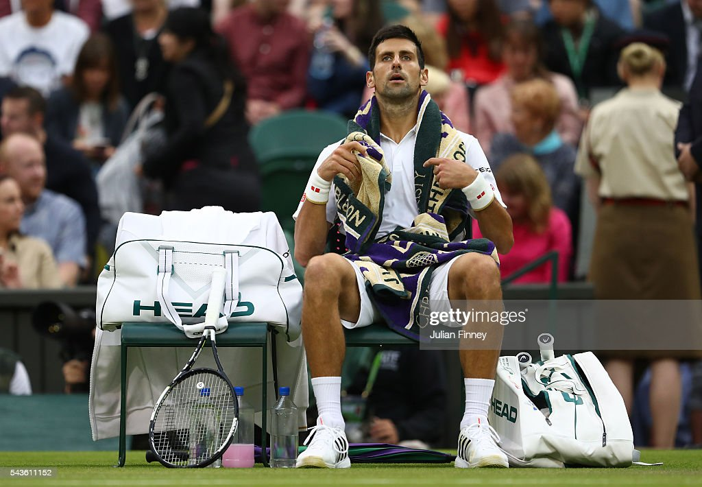 <a gi-track='captionPersonalityLinkClicked' href=/galleries/search?phrase=Novak+Djokovic&family=editorial&specificpeople=588315 ng-click='$event.stopPropagation()'>Novak Djokovic</a> of Serbia looks on following victory during the Men's Singles second round match against Adrian Mannarino of France on day three of the Wimbledon Lawn Tennis Championships at the All England Lawn Tennis and Croquet Club on June 29, 2016 in London, England.