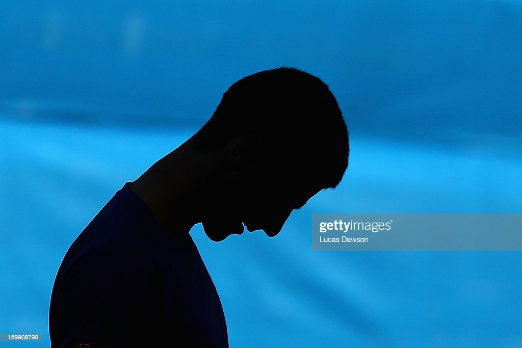 Novak Djokovic of Serbia looks on in a practice session during day ten of the 2013 Australian Open at Melbourne Park on January 23, 2013 in Melbourne, Australia.