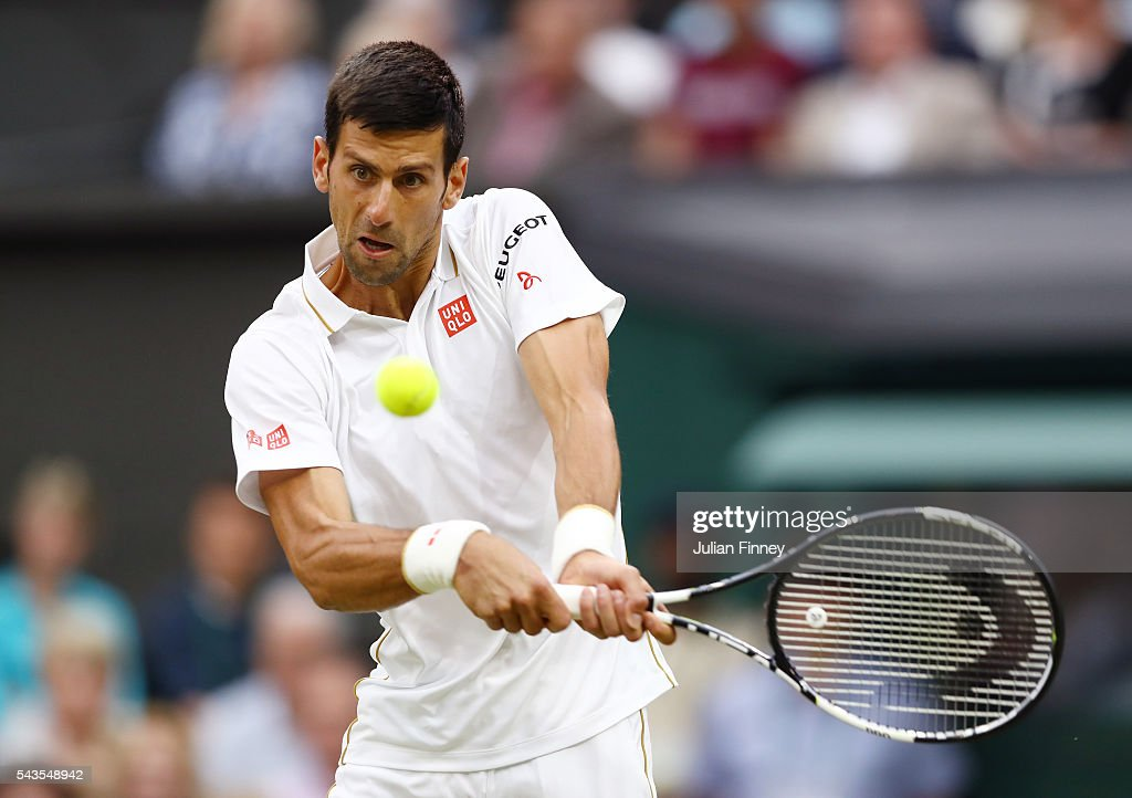 <a gi-track='captionPersonalityLinkClicked' href=/galleries/search?phrase=Novak+Djokovic&family=editorial&specificpeople=588315 ng-click='$event.stopPropagation()'>Novak Djokovic</a> of Serbia plays a backhand during the Men's Singles second round match against Adrian Mannarino of France on day three of the Wimbledon Lawn Tennis Championships at the All England Lawn Tennis and Croquet Club on June 29, 2016 in London, England.