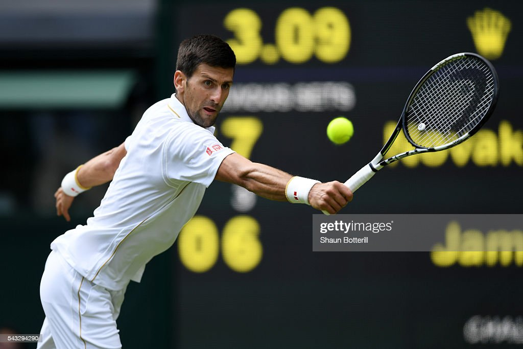 <a gi-track='captionPersonalityLinkClicked' href=/galleries/search?phrase=Novak+Djokovic&family=editorial&specificpeople=588315 ng-click='$event.stopPropagation()'>Novak Djokovic</a> of Serbia plays a backhand shot during the Men's Singles first round against James Ward of Great Britain on day one of the Wimbledon Lawn Tennis Championships at the All England Lawn Tennis and Croquet Club on June 27th, 2016 in London, England.