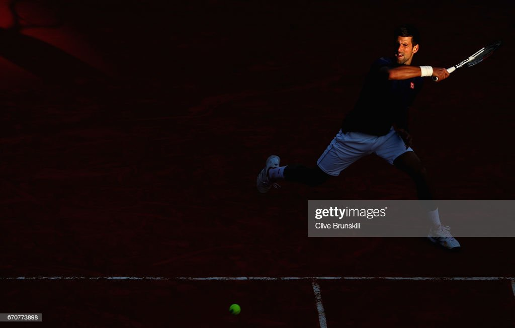 Novak Djokovic of Serbia plays a forehand against Pablo Carreno Busta of Spain in his third round match on day five of the Monte Carlo Rolex Masters at Monte-Carlo Sporting Club on April 20, 2017 in Monte-Carlo, Monaco.