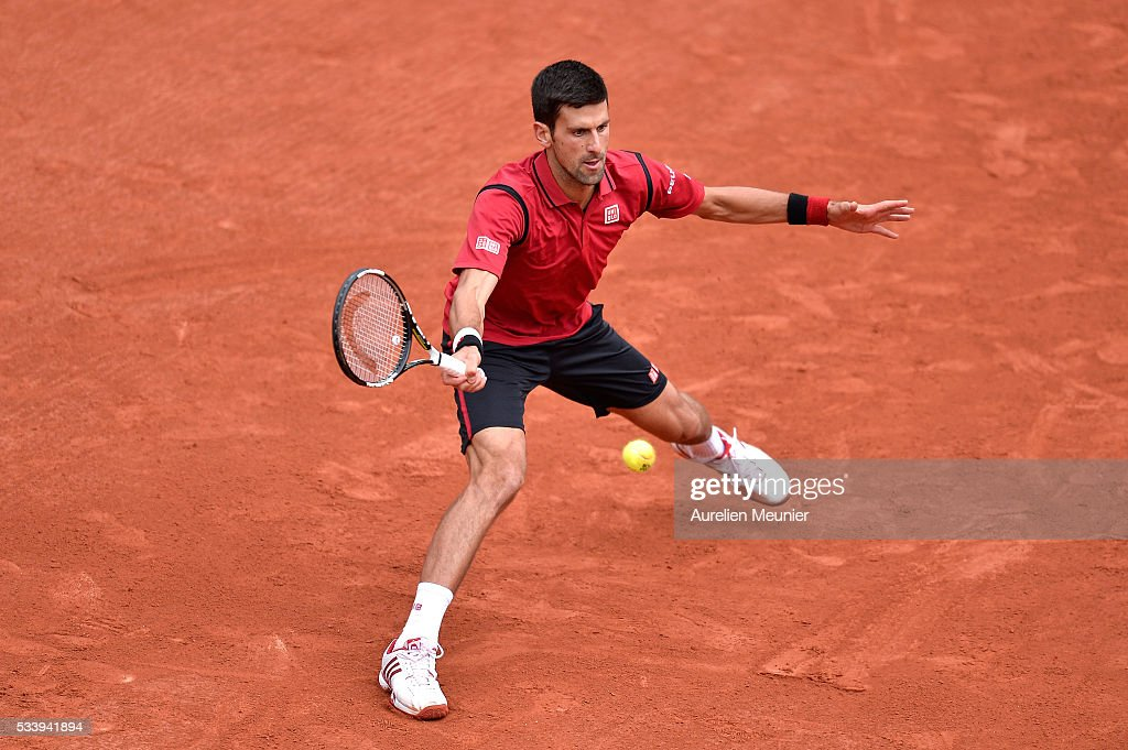 <a gi-track='captionPersonalityLinkClicked' href=/galleries/search?phrase=Novak+Djokovic&family=editorial&specificpeople=588315 ng-click='$event.stopPropagation()'>Novak Djokovic</a> of Serbia plays a forehand during his men's single first round match against Yen-Hsun Lu of Chinese Tapei at Roland Garros on May 24, 2016 in Paris, France.