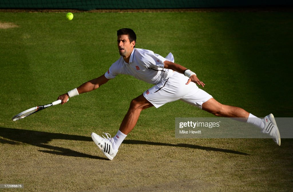<a gi-track='captionPersonalityLinkClicked' href=/galleries/search?phrase=Novak+Djokovic&family=editorial&specificpeople=588315 ng-click='$event.stopPropagation()'>Novak Djokovic</a> of Serbia plays a forehand during the Gentlemen's Singles fourth round match against Tommy Haas of Germany on day seven of the Wimbledon Lawn Tennis Championships at the All England Lawn Tennis and Croquet Club on July 1, 2013 in London, England.