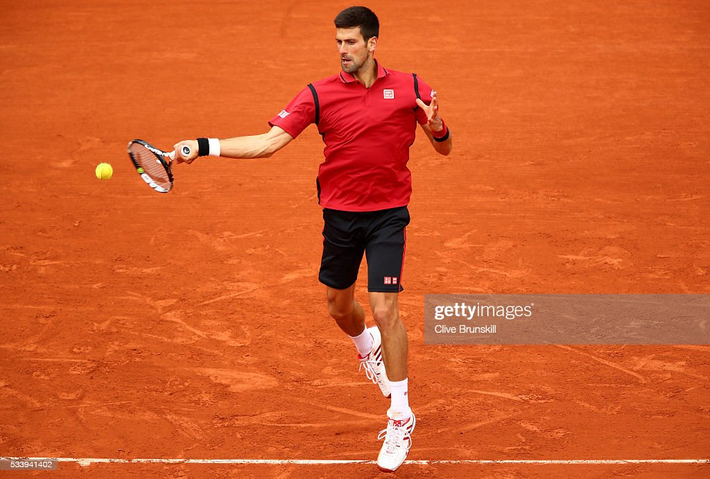 <a gi-track='captionPersonalityLinkClicked' href=/galleries/search?phrase=Novak+Djokovic&family=editorial&specificpeople=588315 ng-click='$event.stopPropagation()'>Novak Djokovic</a> of Serbia plays a forehand during the Men's Singles first round match against Yen-Hsun Lu of Taipei on day three of the 2016 French Open at Roland Garros on May 24, 2016 in Paris, France.
