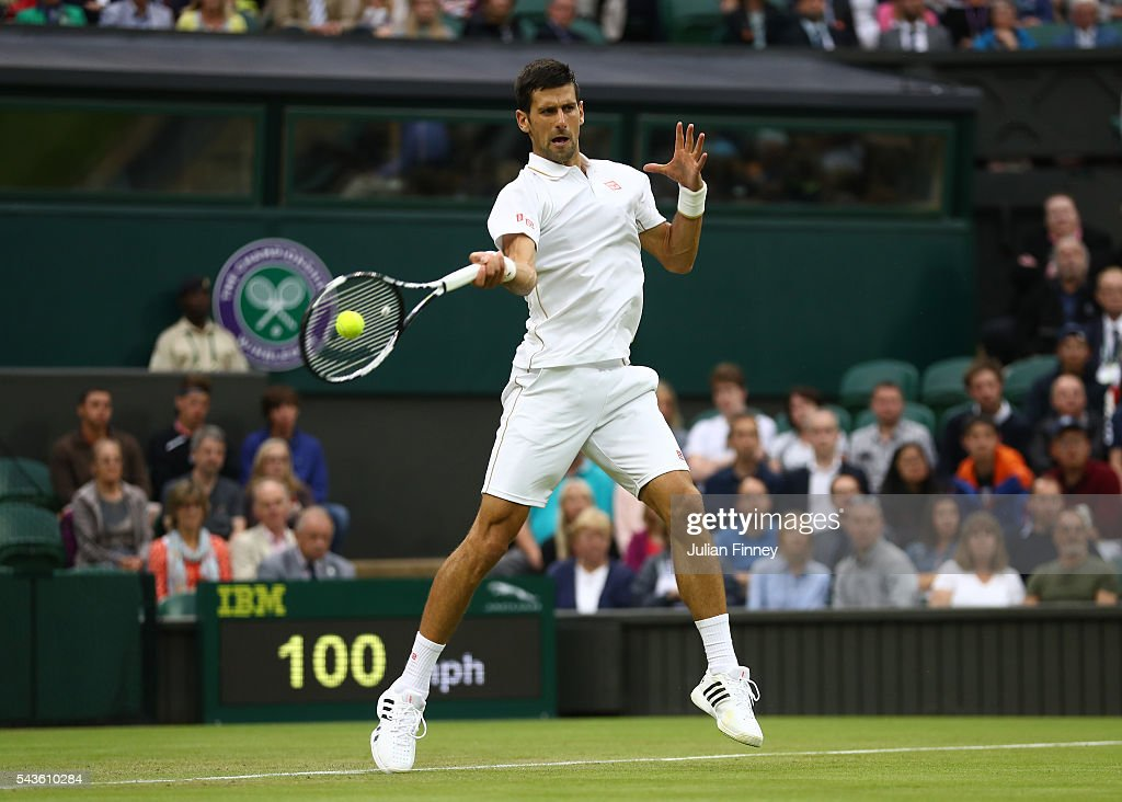 <a gi-track='captionPersonalityLinkClicked' href=/galleries/search?phrase=Novak+Djokovic&family=editorial&specificpeople=588315 ng-click='$event.stopPropagation()'>Novak Djokovic</a> of Serbia plays a forehand during the Men's Singles second round match against Adrian Mannarino of France on day three of the Wimbledon Lawn Tennis Championships at the All England Lawn Tennis and Croquet Club on June 29, 2016 in London, England.