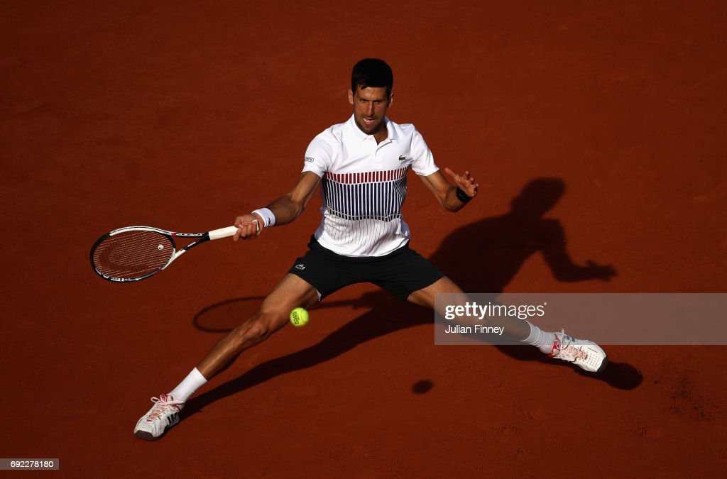Novak Djokovic of Serbia plays a forehand during the mens singles fourth round match against Albert Ramos-Vinolas of Spain on day eight of the 2017 French Open at Roland Garros on June 4, 2017 in Paris, France.