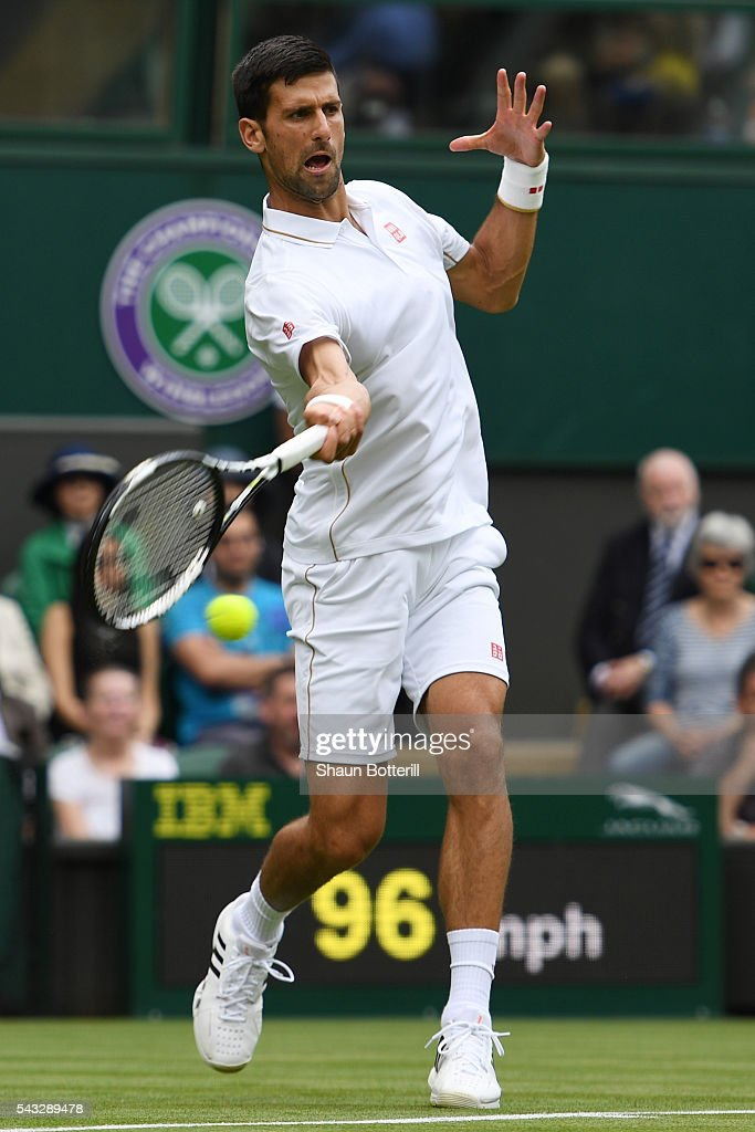 <a gi-track='captionPersonalityLinkClicked' href=/galleries/search?phrase=Novak+Djokovic&family=editorial&specificpeople=588315 ng-click='$event.stopPropagation()'>Novak Djokovic</a> of Serbia plays a forehand shot during the Men's Singles first round against James Ward od Great Britain on day one of the Wimbledon Lawn Tennis Championships at the All England Lawn Tennis and Croquet Club on June 27th, 2016 in London, England.