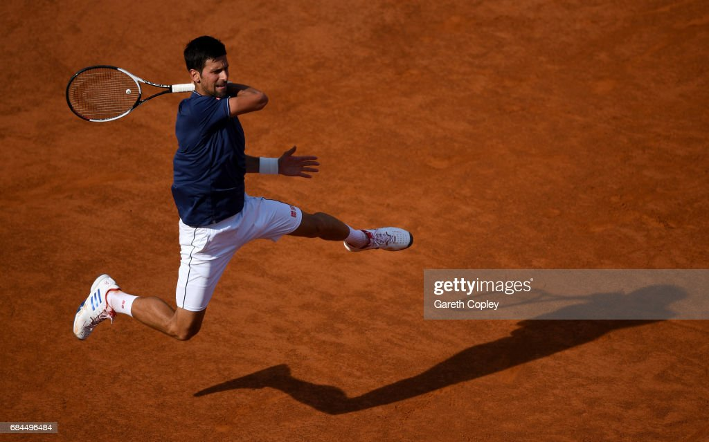 Novak Djokovic of Serbia plays a shot during his 3rd round match against Roberto Bautista of Spain in The Internazionali BNL d'Italia 2017 at Foro Italico on May 18, 2017 in Rome, Italy.