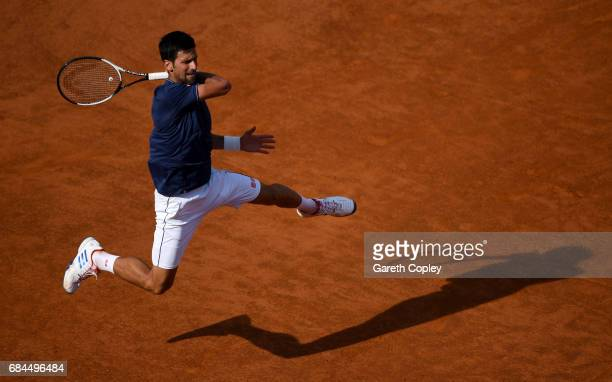 Novak Djokovic of Serbia plays a shot during his 3rd round match against Roberto Bautista of Spain in The Internazionali BNL d'Italia 2017 at Foro...