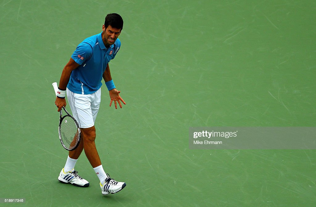 Novak Djokovic of Serbia plays in the Men's Final against Kei Nishikori of Japan during Day 14 of the Miami Open presented by Itau at Crandon Park...