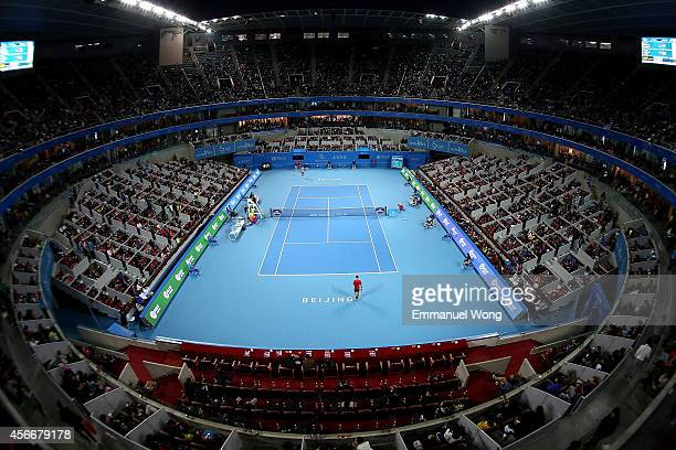 Novak Djokovic of Serbia plays Tomas Berdych of the Czech Republic pose during Men's Single Final on day nine of the China Open at the China National...