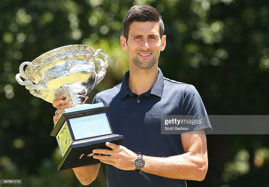 <a gi-track='captionPersonalityLinkClicked' href=/galleries/search?phrase=Novak+Djokovic&family=editorial&specificpeople=588315 ng-click='$event.stopPropagation()'>Novak Djokovic</a> of Serbia poses with the Norman Brookes Challenge Cup after winning the Men's Singles Final during the Australian Open 2016 Men's Champion Photocall at Government House on February 1, 2016 in Melbourne, Australia.