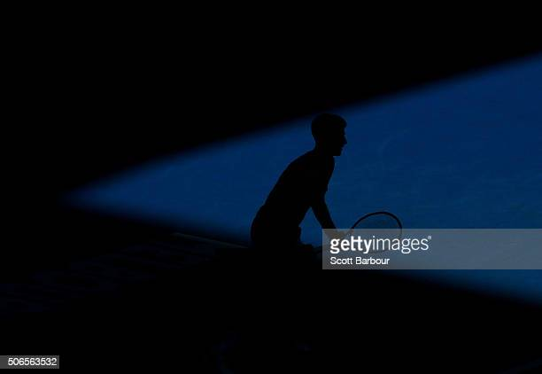 Novak Djokovic of Serbia prepares to receive serve in his fourth round match against Gilles Simon of France during day seven of the 2016 Australian...