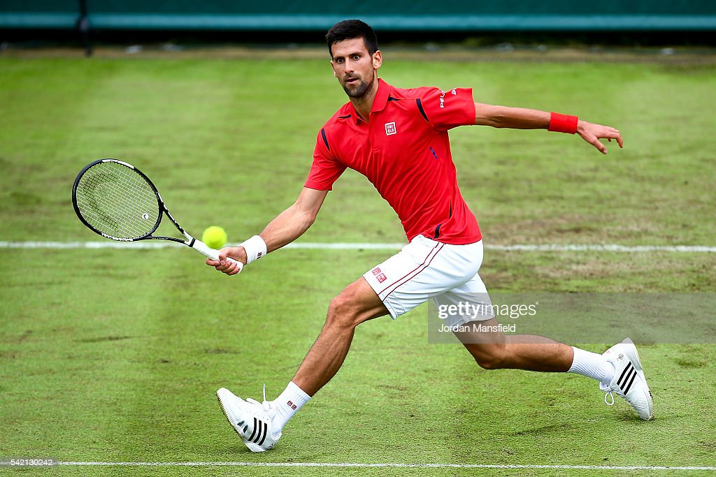 Novak Djokovic of Serbia reaches for a forehand during his match against David Goffin of Belgium during day two of The Boodles Tennis Event at Stoke Park on June 22, 2016 in Stoke Poges, England.