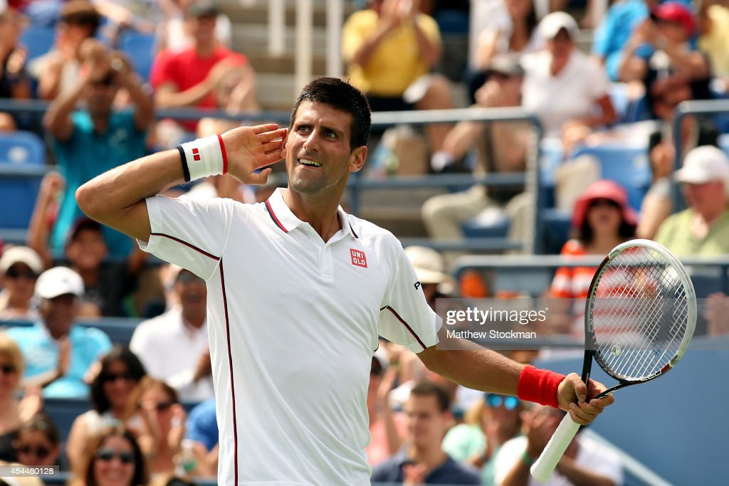 Novak Djokovic of Serbia reacts after a point against Philipp Kohlschreiber of Germany during their men's singles fourth round match on Day Eight of the 2014 US Open at the USTA Billie Jean King National Tennis Center on September 1, 2014 in the Flushing neighborhood of the Queens borough of New York City.