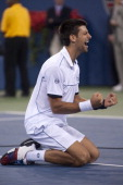 Novak Djokovic of Serbia reacts after he won match point against Rafael Nadal of Spain during the Men's Final on Day Fifteen of the 2011 US Open at...