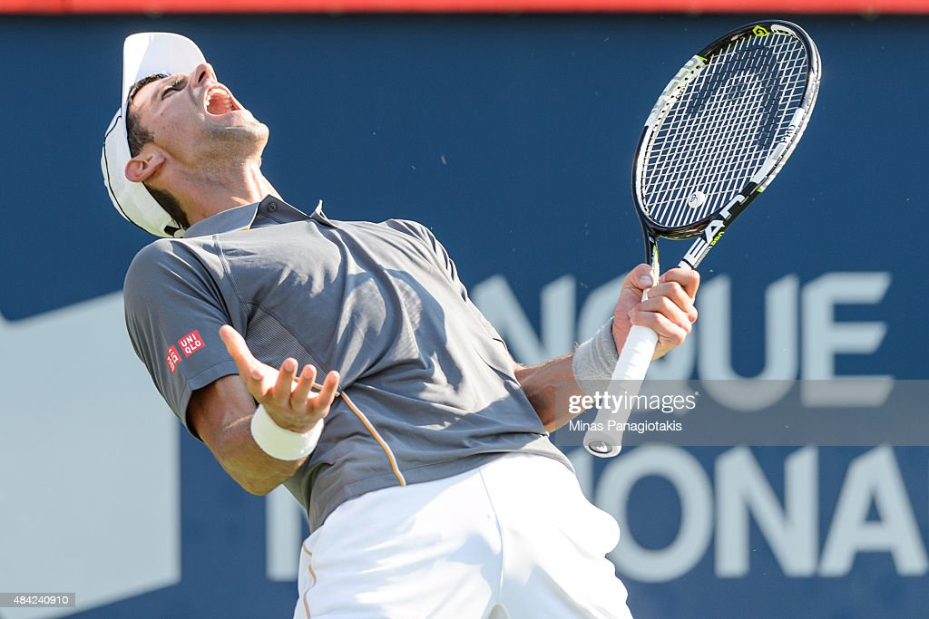 Novak Djokovic of Serbia reacts after loosing a point against Andy Murray of Great Britain during day seven of the Rogers Cup at Uniprix Stadium on...
