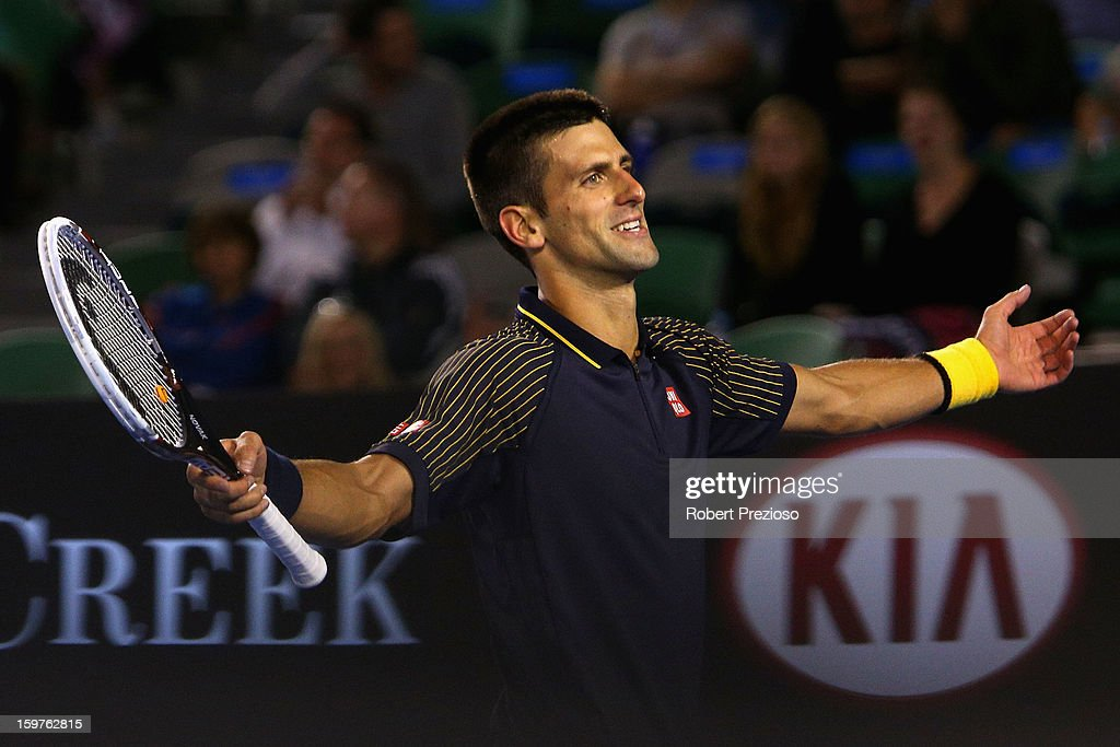 Novak Djokovic of Serbia reacts after missing a shot in his fourth round match against Stanislas Wawrinka of Switzerland during day seven of the 2013 Australian Open at Melbourne Park on January 20, 2013 in Melbourne, Australia.