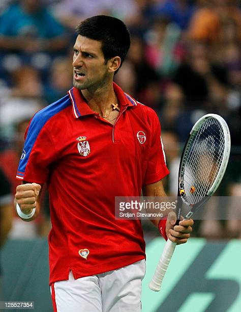 Novak Djokovic of Serbia reacts after winning a point against Juan Martin Del Potro of Argentina during the Davis Cup singles semi final between...