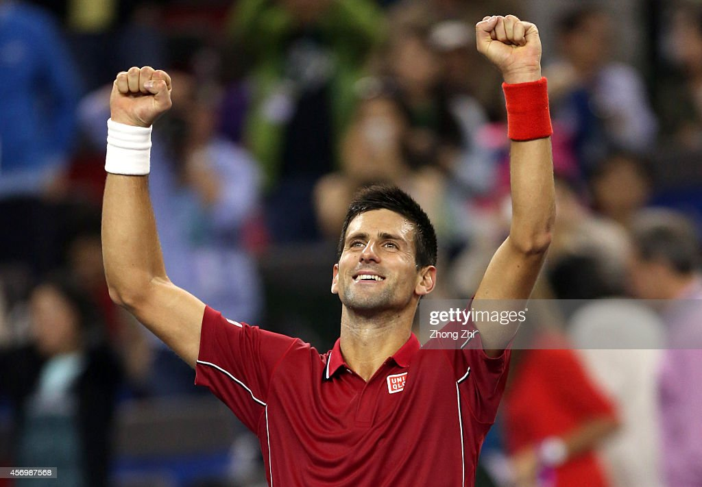 Novak Djokovic of Serbia reacts after winning his match against David Ferrer of Spain during the day 6 of the Shanghai Rolex Masters at the Qi Zhong Tennis Center on October 10, 2014 in Shanghai, China.
