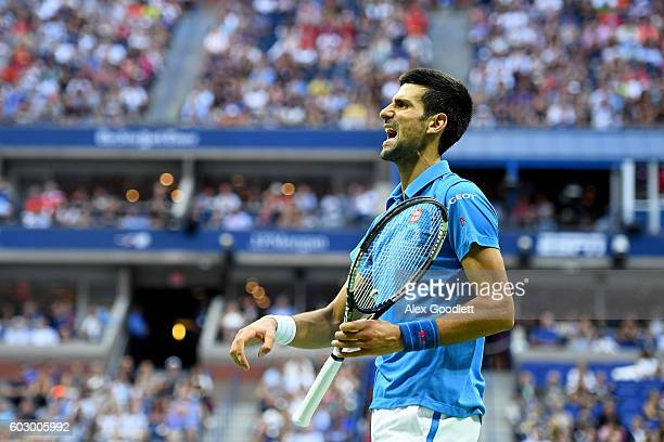 Novak Djokovic of Serbia reacts against Stan Wawrinka of Switzerland during their Men's Singles Final Match on Day Fourteen of the 2016 US Open at...