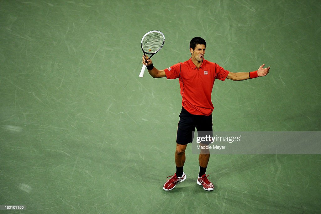 <a gi-track='captionPersonalityLinkClicked' href=/galleries/search?phrase=Novak+Djokovic&family=editorial&specificpeople=588315 ng-click='$event.stopPropagation()'>Novak Djokovic</a> of Serbia reacts during his men's singles final match against Rafael Nadal of Spain on Day Fifteen of the 2013 US Open at the USTA Billie Jean King National Tennis Center on September 9, 2013 in the Flushing neighborhood of the Queens borough of New York City.